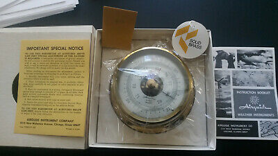 """Solid Brass Airguide Barometer New/Old Stock from the 60""""s original box"""
