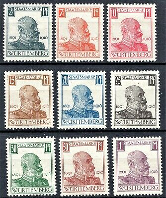 Germany -1916 Wurttemberg Official Issues - Short Set - Mint Hinged