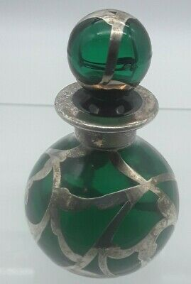 Antique Green Glass and Sterling Silver Overlay Perfume Bottle with Stopper
