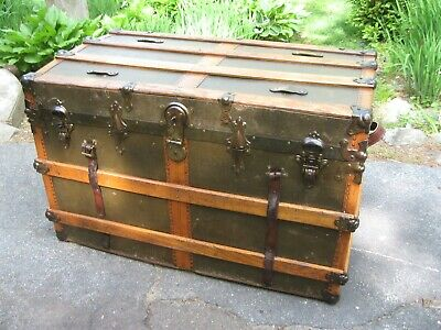 """Antiques Canvas Steamer Trunk 1890-1910  Flat Top 37"""" Wide Working Lock & Key"""