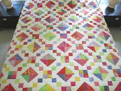 QUEEN Vintage Hand Quilted All Cotton IRISH CHAIN Quilt, Nice Striped Borders !