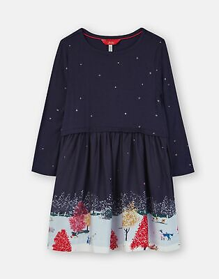Joules Girls Merrie Woven Mix Border Dress - NAVY WILDLIFE BORDER Size 11yr-12yr
