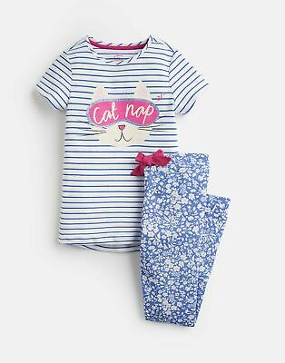 Joules Girls Lark Jersey Pyjama Set  - BLUE STRIPE CAT NAP Size 2yr