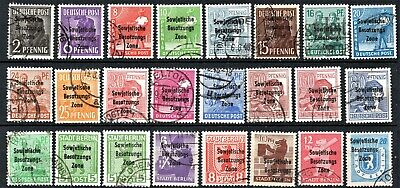 GERMANY- 1948 RUSSIAN ZONE OPTED - FULL SETS - Incl. 60pf RED BROWN - USED