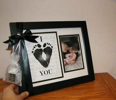 Baby Child Keepsake -Footprint Frame - Heart Mommy -Grandparent Gift Co -NEW