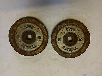 SPUR Cast Iron Metal Weights Plates Dumbbells Barbells Gym 2x10lbs Over 9 KG