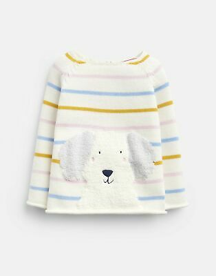 Joules Baby Girls Winnie Knitted Jumper - MULTI STRIPE DOG Size 9m-12m