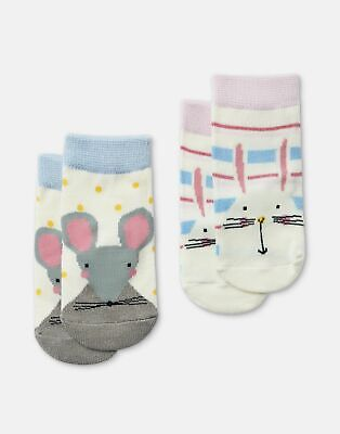 Joules Baby Girls Neat Feet   2 Pack Character Socks -  Size 6m-12m