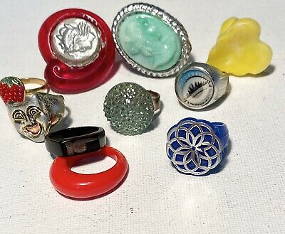 70s Vintage Childs Toy Plastic Ring Lot of 10 Bubble Gum Machine Prize Cameo
