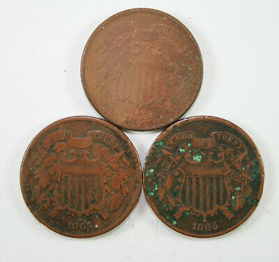 (3) Two-Cent Pieces | 1864 - 1865