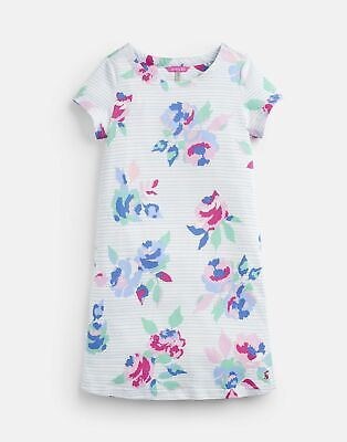Joules 204612 Jersey Dress - Cream AND MULTI ROSE STRIPE Size 5yr