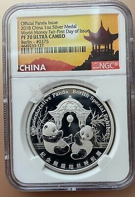 2018 SILVER MEDAL PANDA NGC PF70 UC ER,  WORLD MONEY FAIR LABEL FDI 1 oz .999