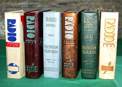 Six Volumes of RADIO ANNUAL & TV YEARBOOK; 1940, '41, '43, '45, '60 and '61
