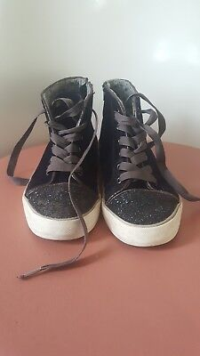M&S kids girls Deep Purple glitter boots with zip. Size 4. Good condition