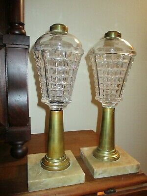 Pair of Early 19th C Waffle Pattern Sandwich Whale Oil Lamps