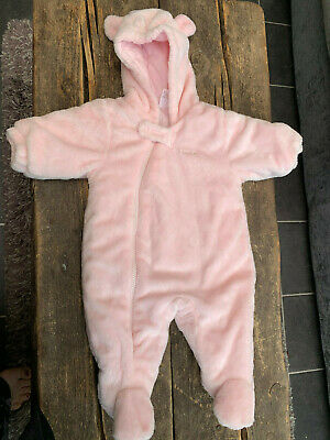 Baby girls furry Next hooded snowsuit baby coat up to 1 month newborn bear ears