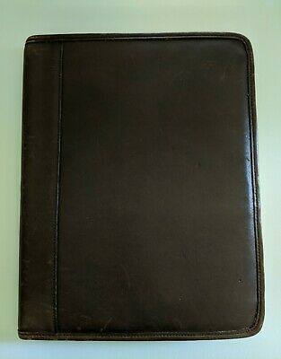 RARE! COACH Brown Leather Notepad Planner Portfolio Single Stitch