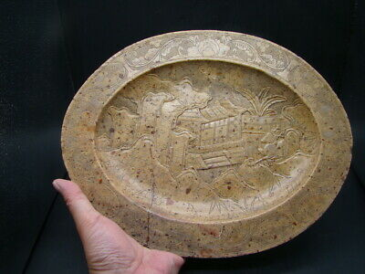 Chinese 18th century nice carved big stone plate   x5787