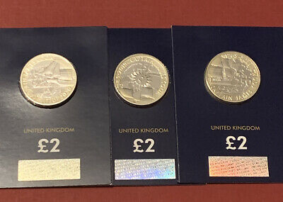 2018 2019 2020 UK Captain Cook £2 Brilliant Uncirculated BUNC Set 3 Coins ##