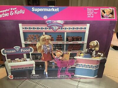 Mattel Shoppin Fun Barbie & Kelly Supermarket 1996 NEW