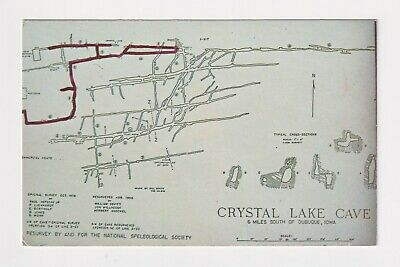 Iowa Dubuque Crystal Lake Cave National Speleological Society Map Circa 1963