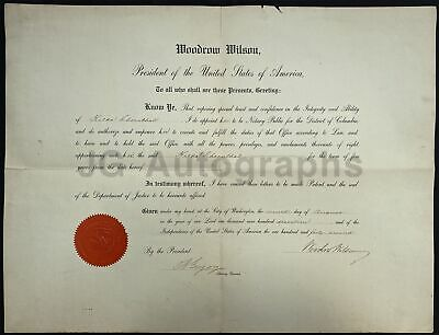 Woodrow Wilson - 28th U.S. President - Oversized Autographed Appointment Doc.