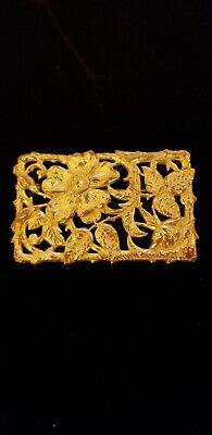 Beautiful Vtg Miriam Haskell Filigree Ornate Gold tone pin brooch