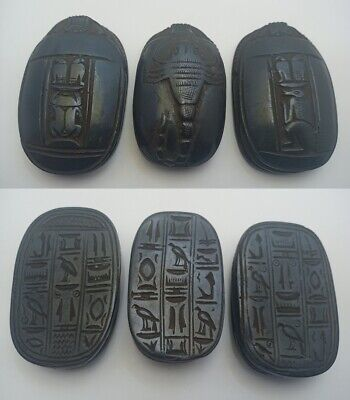 3 RARE ANCIENT EGYPTIAN SCARAB ANTIQUE Stone 1434-1302 BC