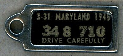 1945 Maryland 348-710 DAV key chain license plate tag – Excellent Condition