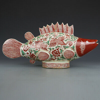 "16.9"" Old Chinese yuan  Dynasty Porcelain red green painting phoenix fish Statue"