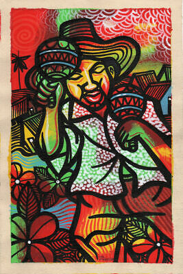 CUBAN LIFE Original Art Painting Acrylic Canvas LEONARDO RUBIO BRIDON  R4