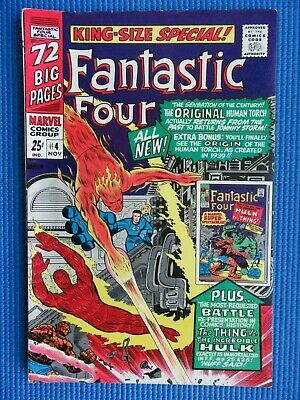 Fantastic Four King-Size Special # 4 - (Fine) - Original Torch,Hulk Vs The Thing
