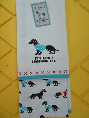 NEW 2 Dachshund Christmas Tea Kitchen Towels - Holiday Cooksmart NEW TAGS