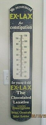 1940's EX-LAX METAL THERMOMETER ADVERTISING SIGN 39 Inch Works (BL) $1 NR