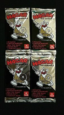 1995 Authentix Hagar The Horrible Trading Card Pack 4 Pack Lot