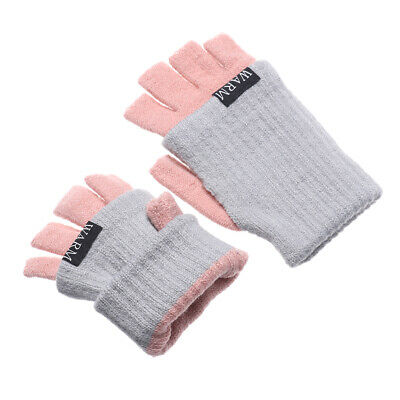 Finger Warm Candy Color Short Half Finger Mittens Knitted Gloves Thick Warm