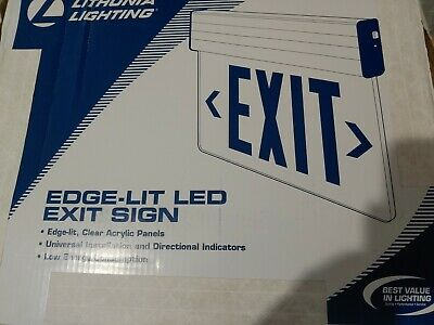 Lithonia Lighting Emergency Exit Sign Red LED Edge Lit Low Energy Consumption
