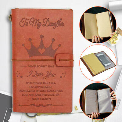 AU A6 To My Daughter Crown Engraved Leather Journal Notebook Diary Handbook