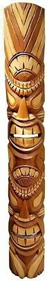 """Detailed 39.5"""" Handcarved Natural Style Two Face Wood Tiki Mask Wall Decor!"""