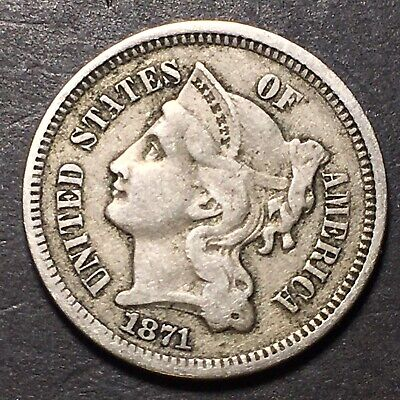 1871 3 Cent Nickel FS-101 TDO Rare Better Date & Variety Type Coin