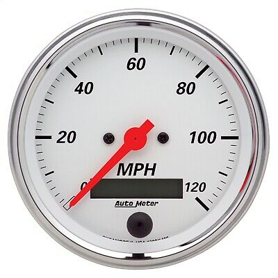 "AutoMeter 1380 Arctic White Electric Programmable Speedometer 3 3/8"" 120 MPH"