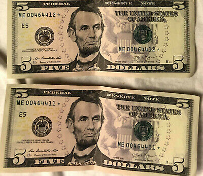 5 $5.00 2013 New-Near Mint Low Serial Star Notes