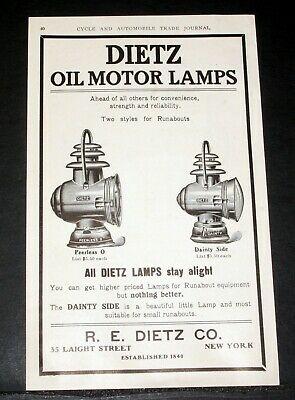 1906 Old Magazine Print Ad, Dietz Peerless Lamps & Oil Motor Lamps, Runabouts!