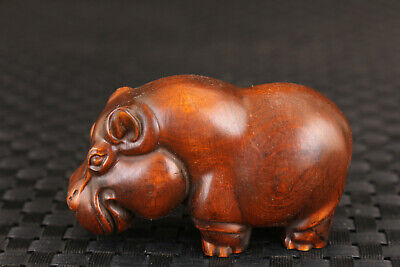 Chinese boxwood good stand hippo Figure statue collection Art deco