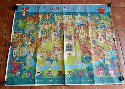 "CAMBRIDGE: genuine British Railways 50"" x 40"" pictorial poster by Kerry Lee 1968"