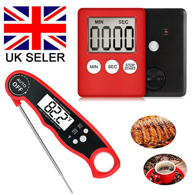 Magnetic LCD Digital BBQ Kitchen Timer Counter Up Down Thermometer Probe Senor
