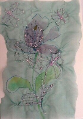 Embroidered Flower collage painting on paper