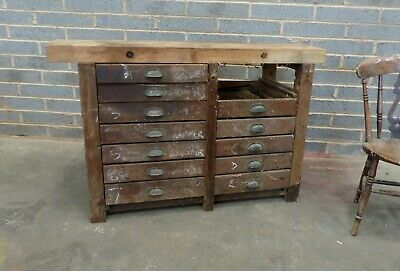 vintage industrial bank of 12 drawers,  haberdashery, plan chest, shop fitting,