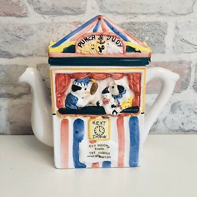 Vintage Regency Fine Arts Punch & Judy Puppet Show Novelty Hand Painted Teapot