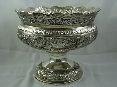 LARGE,  CRESTED, INDIAN ( KASHMIR ) solid silver ROSE BOWL, c1900, 1275gm